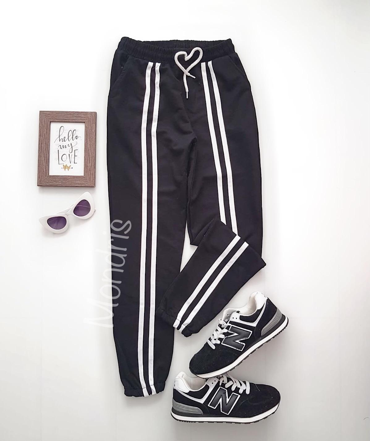 Pantaloni dama ieftini tip jogger negri cu dungi pe mijloc