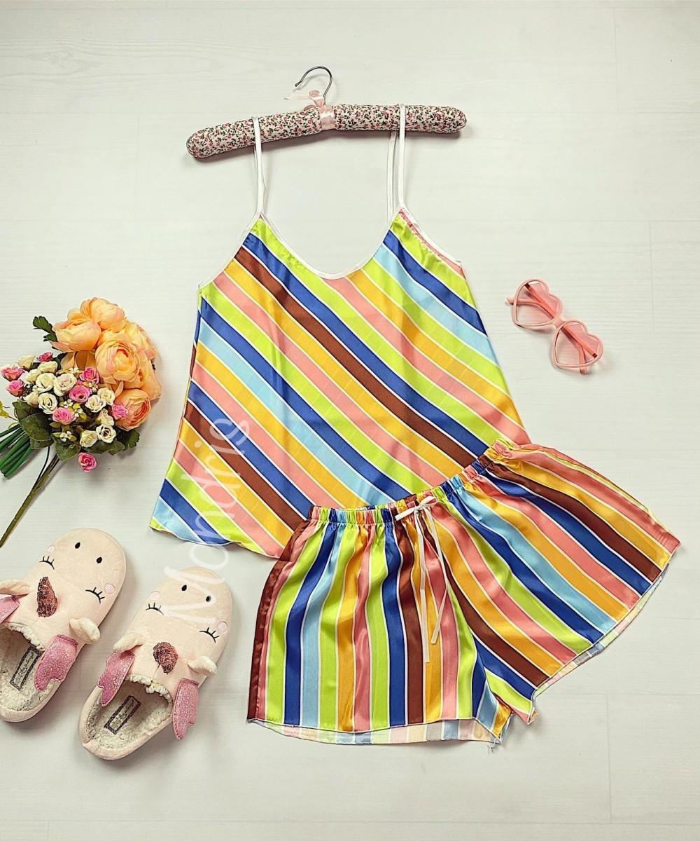 Pijama dama ieftina primavara-vara galben din satin lucios cu dungi colorate