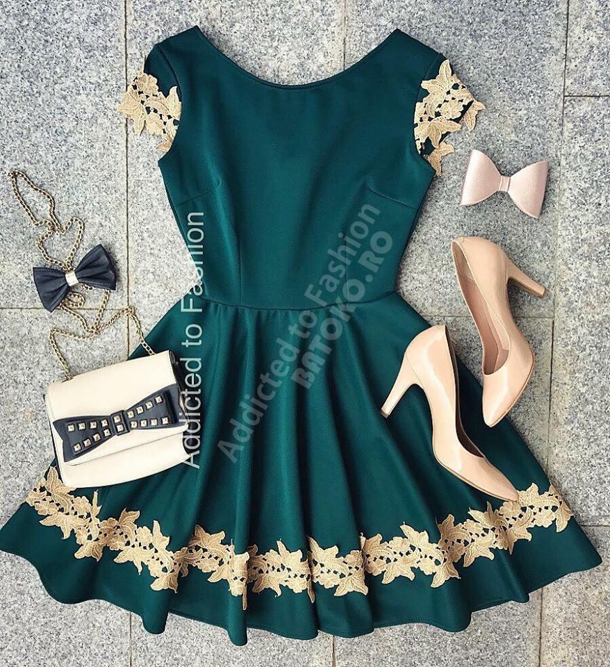 Rochie de ocazie verde cu broderie aurie