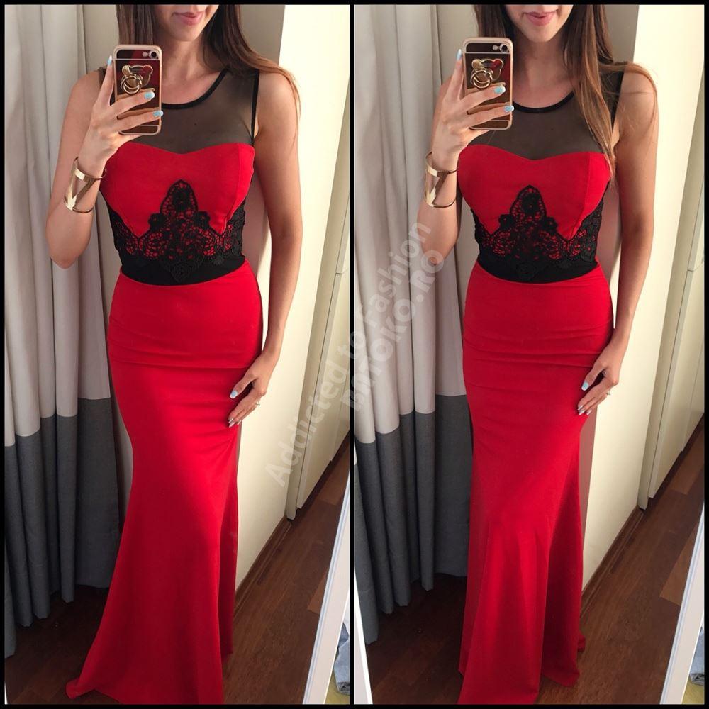 Rochie de seara sau ocazie lunga rosie evazata cu broderie neagra