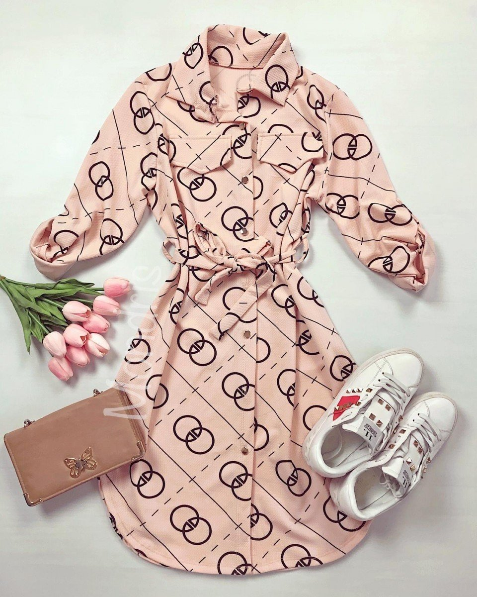 Rochie ieftina casual stil camasa roz si neagra cu cercuri si cordon in talie