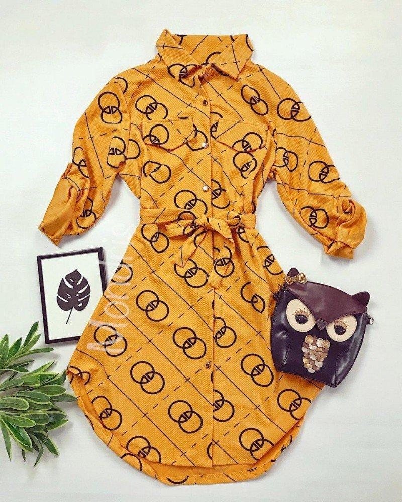 Rochie ieftina casual stil camasa galbena si neagra cu cercuri si cordon in talie