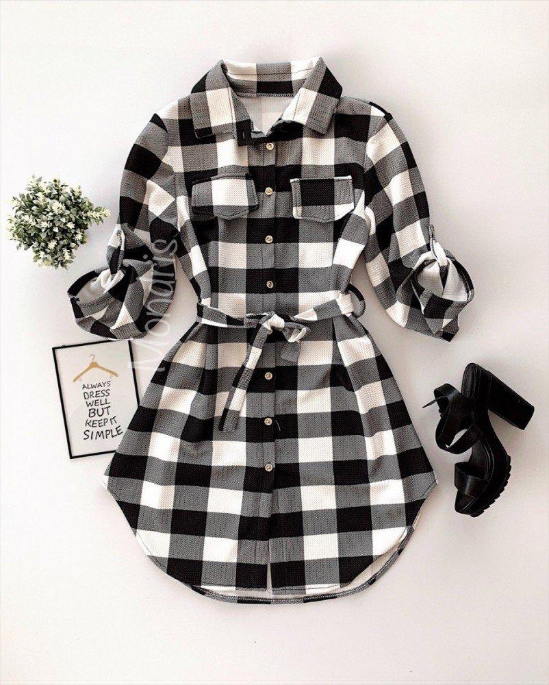 Rochie ieftina casual stil camasa neagra cu carouri si cordon in talie