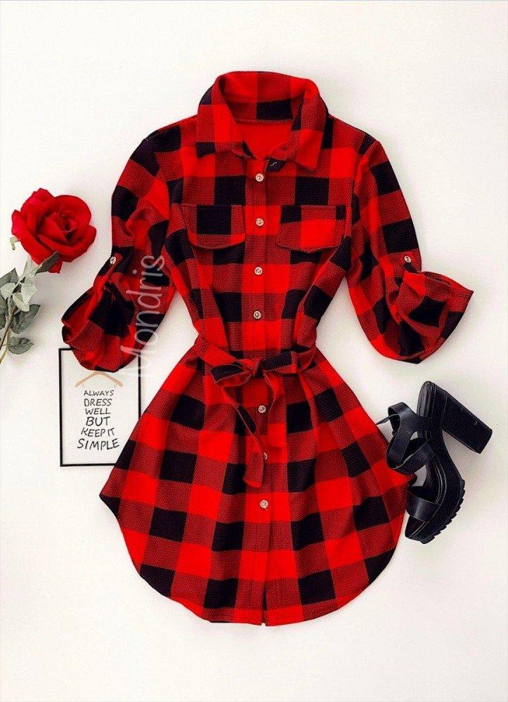 Rochie ieftina casual stil camasa rosie neagra cu carouri si cordon in talie
