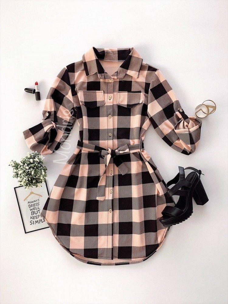 Rochie ieftina casual stil camasa roz neagra cu carouri si cordon in talie