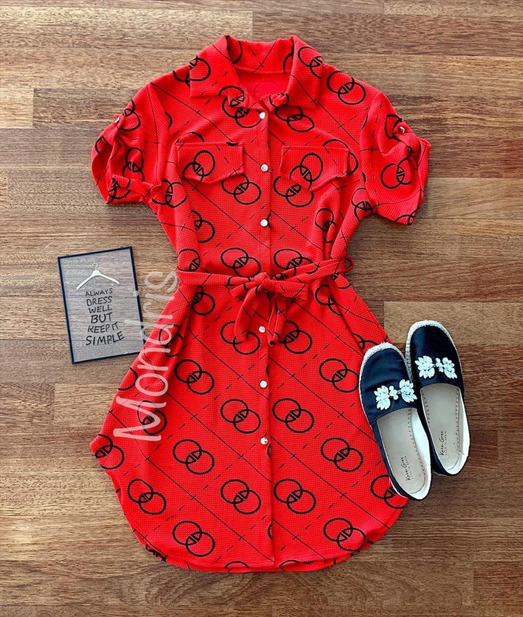 Rochie ieftina casual stil camasa rosie si neagra cu cercuri si cordon in talie
