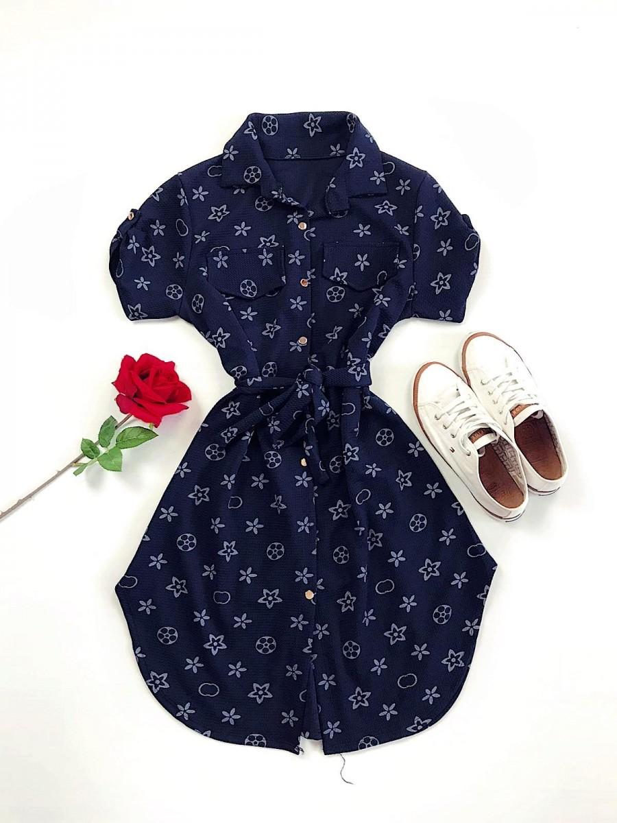 Rochie ieftina casual stil camasa negru si bleumarin cu stelute si cordon in talie imagine