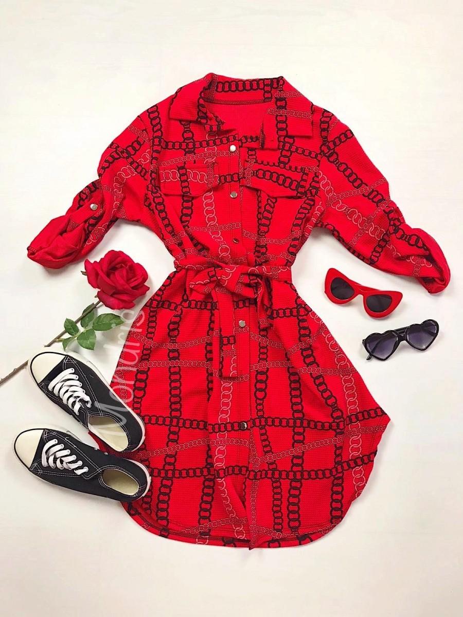 Rochie ieftina casual stil camasa rosie cu lanturi si cordon in talie
