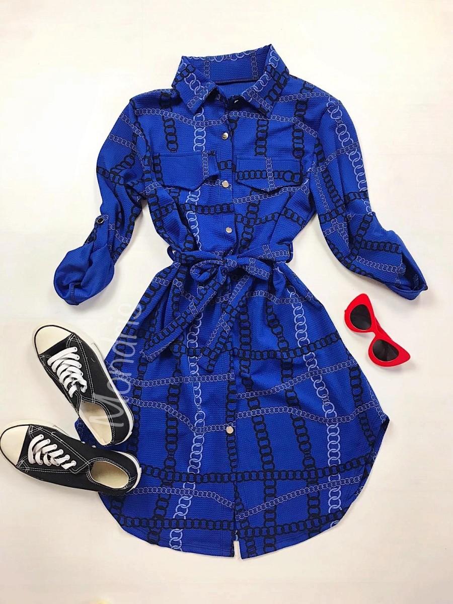Rochie ieftina casual stil camasa albastra cu lanturi si cordon in talie