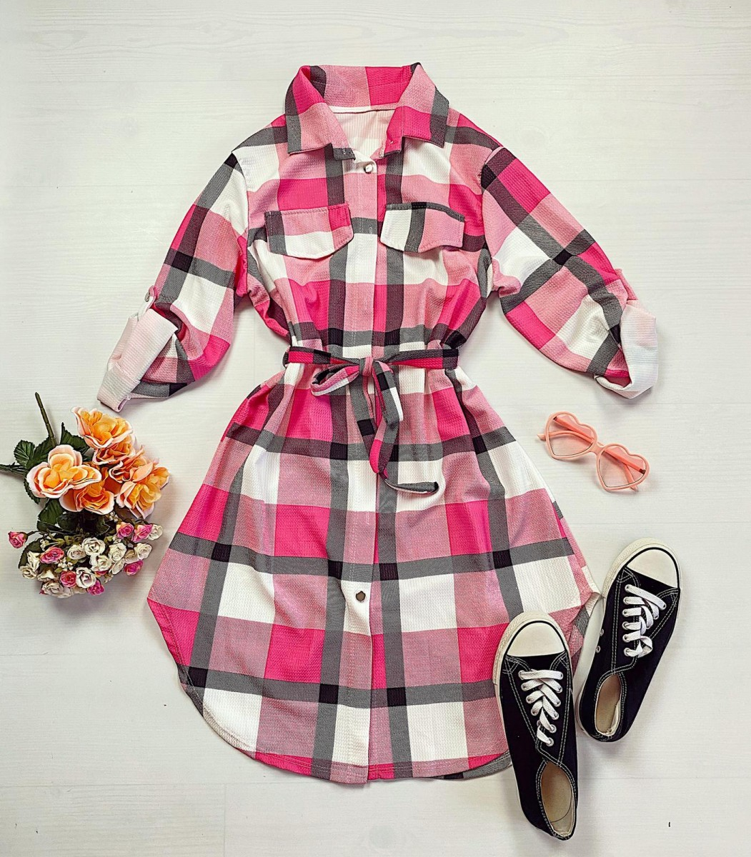 Rochie ieftina casual stil camasa roz fuchsia cu gri si alb cu carouri si cordon in talie