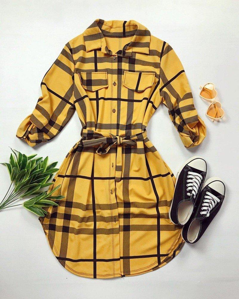 Rochie ieftina casual stil camasa galbena si neagra cu dungi si cordon in talie