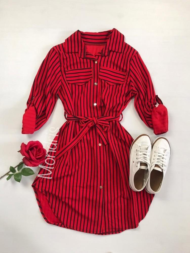 Rochie ieftina casual stil camasa rosie si neagra cu linii verticale si cordon in talie