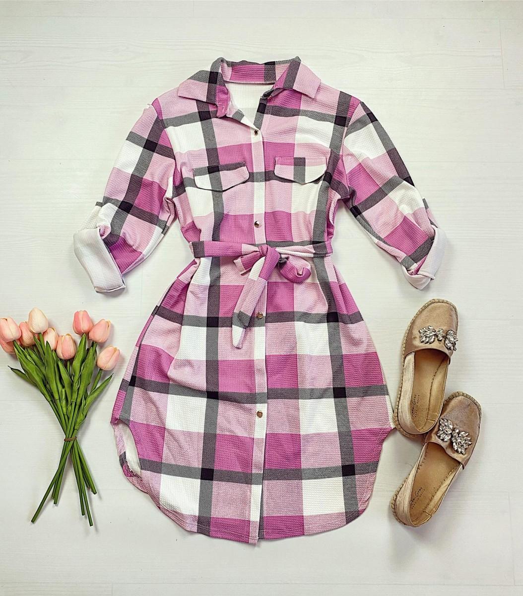 Rochie ieftina casual stil camasa roz deschis cu gri si alb cu carouri si cordon in talie