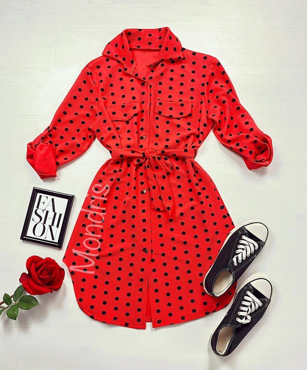 Rochie ieftina casual stil camasa rosie cu puncte mari si cordon in talie