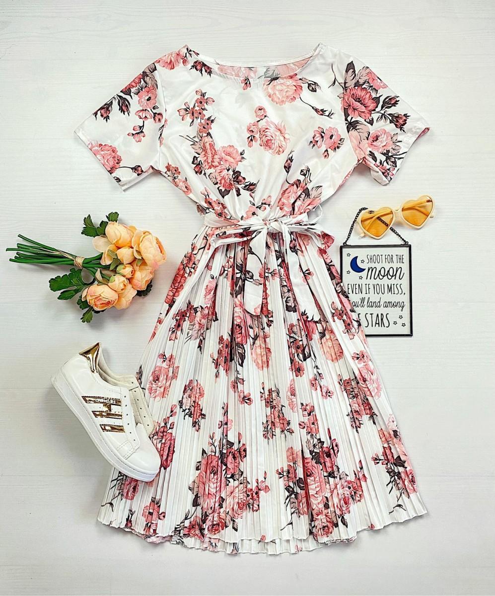 Rochie dama ieftina alba de zi midi cu pliuri si imprimeu flori roz
