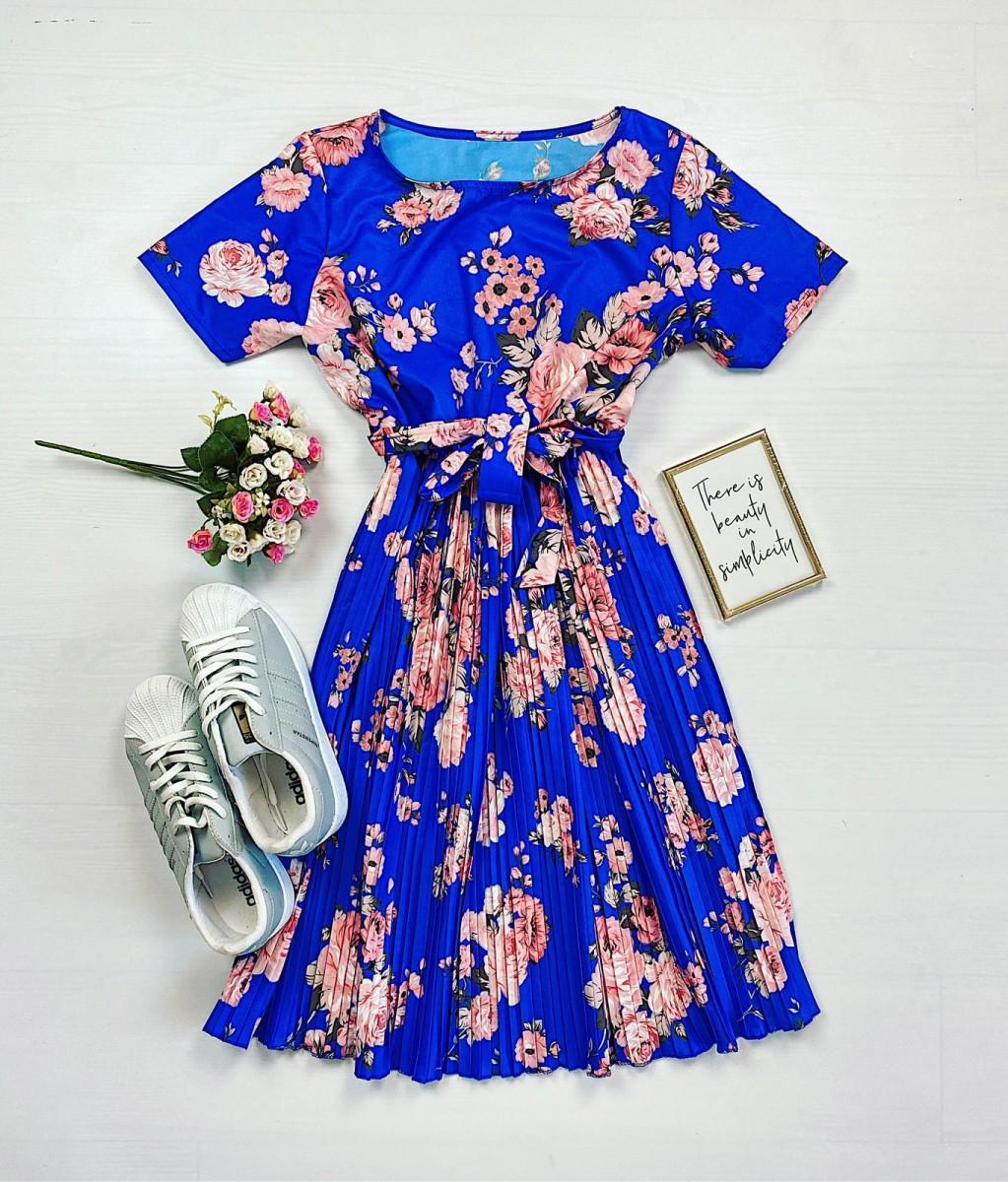 Rochie dama ieftina albastra de zi midi cu pliuri si imprimeu flori roz