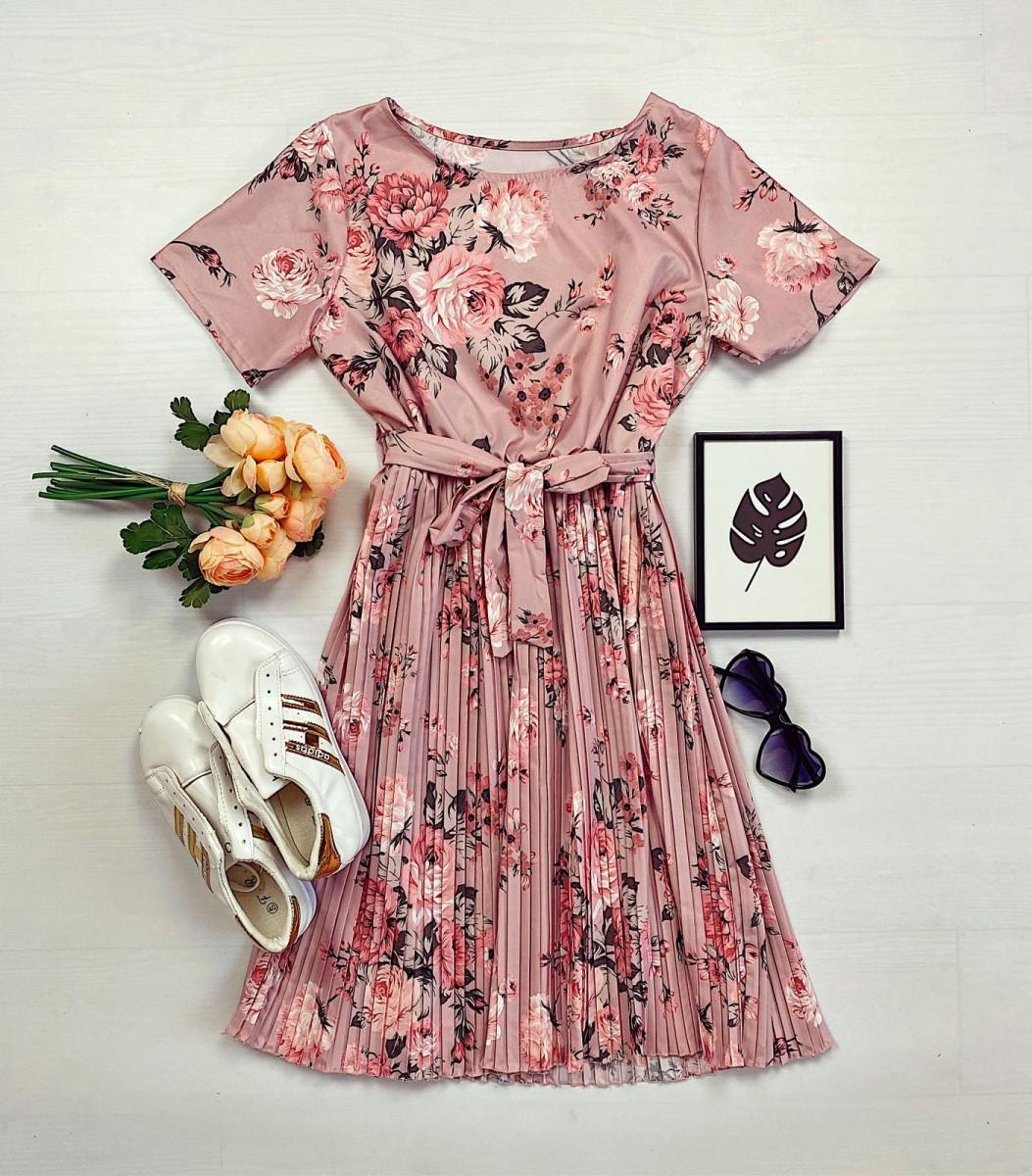 Rochie dama ieftina roz de zi midi cu pliuri si imprimeu flori roz