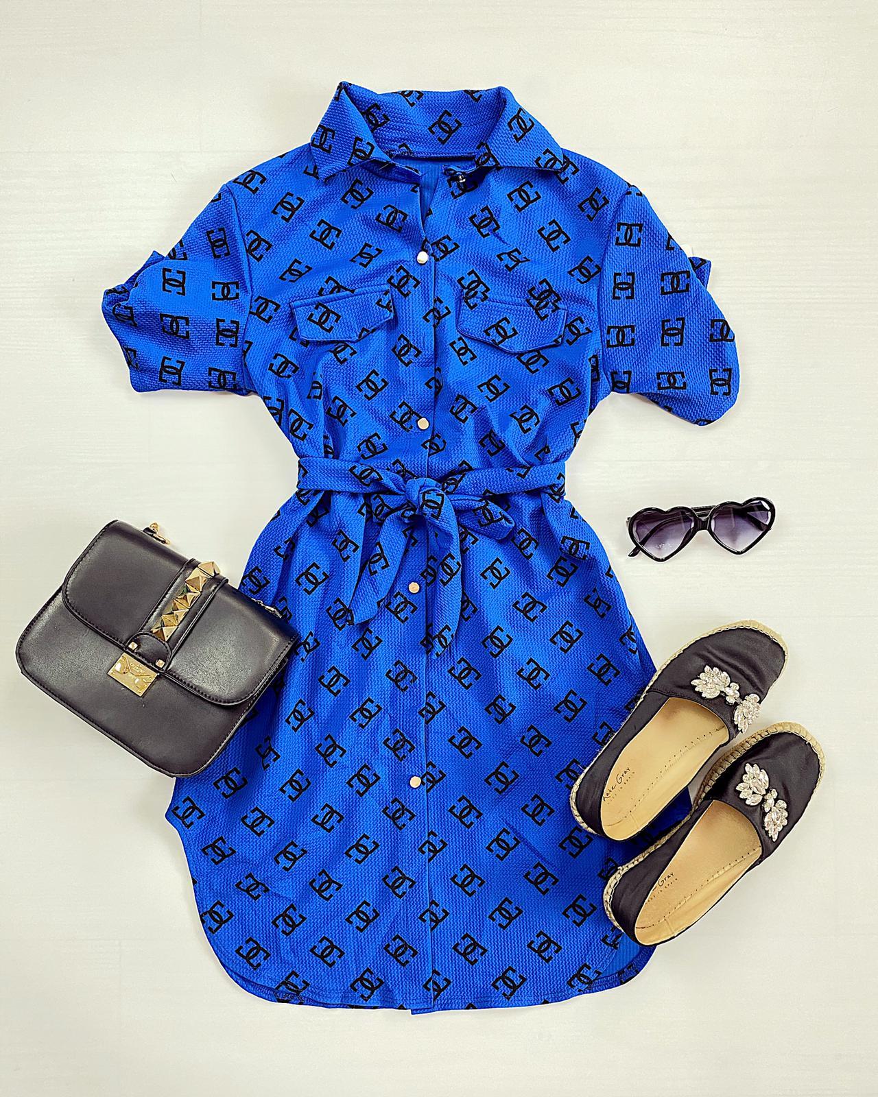 Rochie ieftina casual stil camasa albastra si neagra cu stelute si cordon in talie