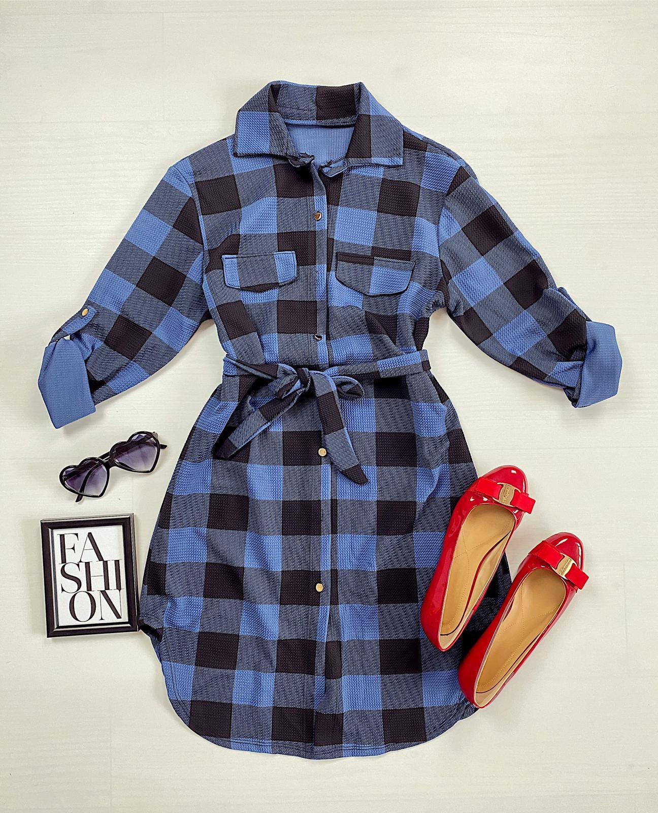 Rochie ieftina casual stil camasa albastru deschis cu negru cu carouri si cordon in talie