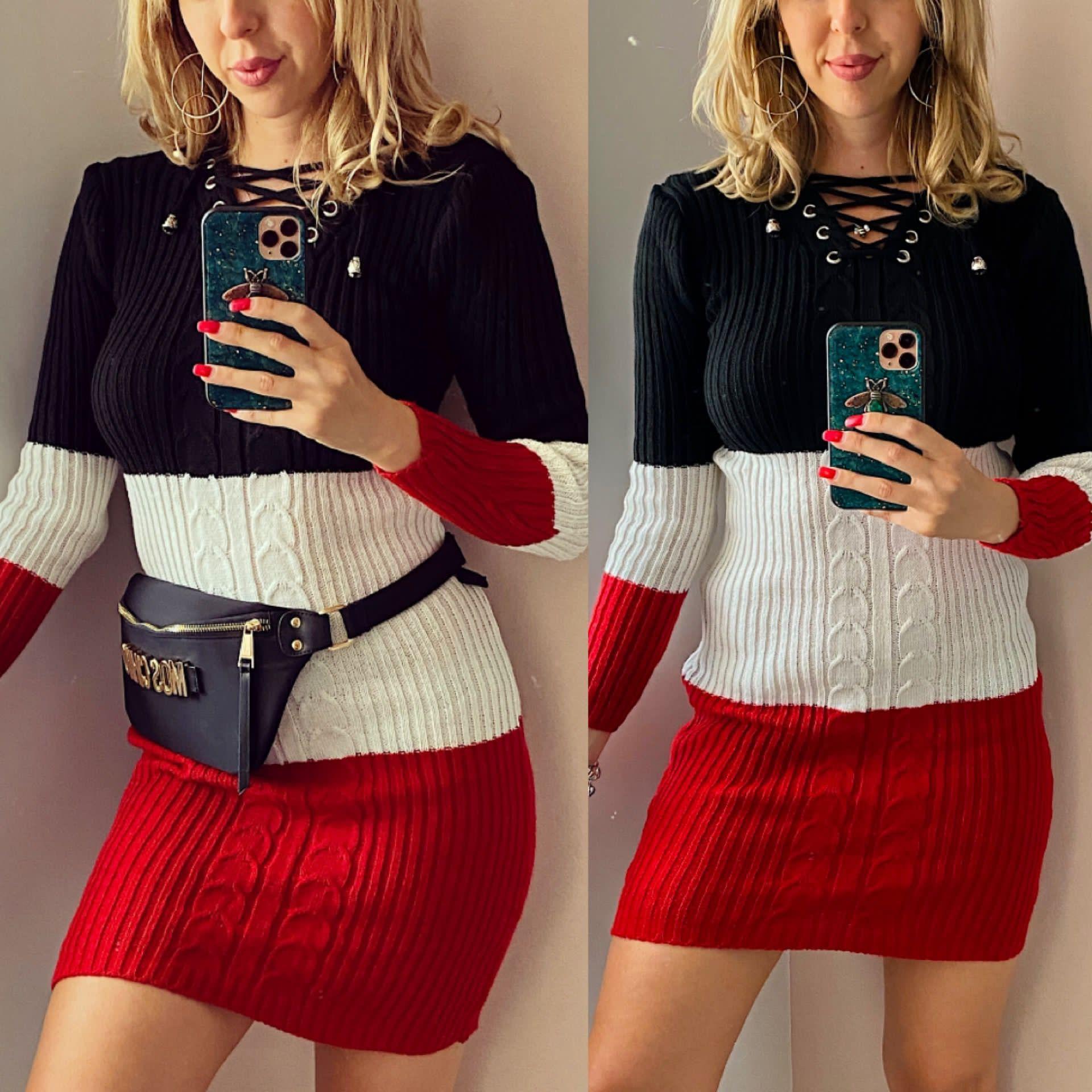 Rochie ieftina de zi din tricot neagra cu snur la gat si imprimeu 3 culori
