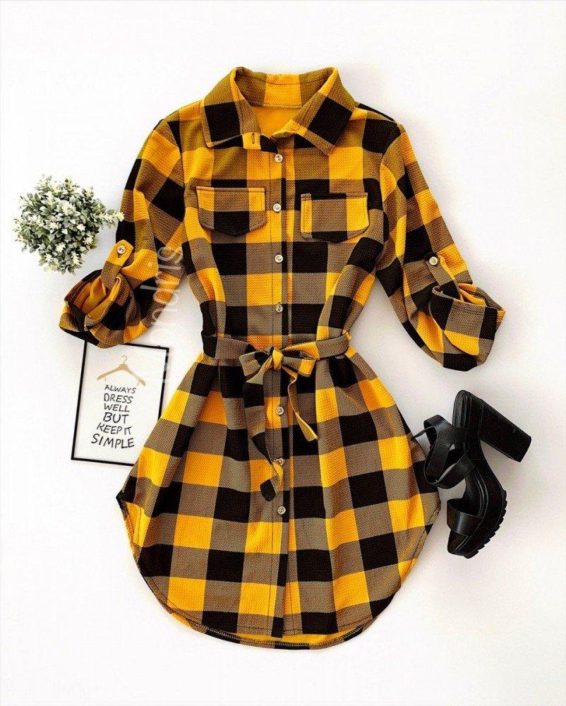 Rochie ieftina casual stil camasa galbena si neagra cu carouri si cordon in talie