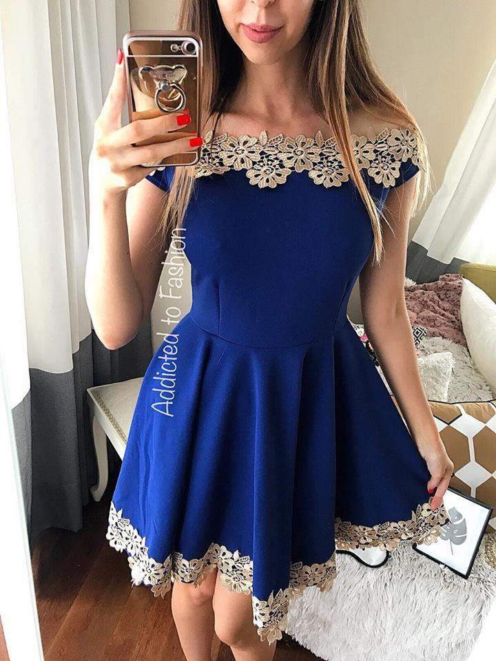 Rochie albastra scurta eleganta cu broderie deosebita
