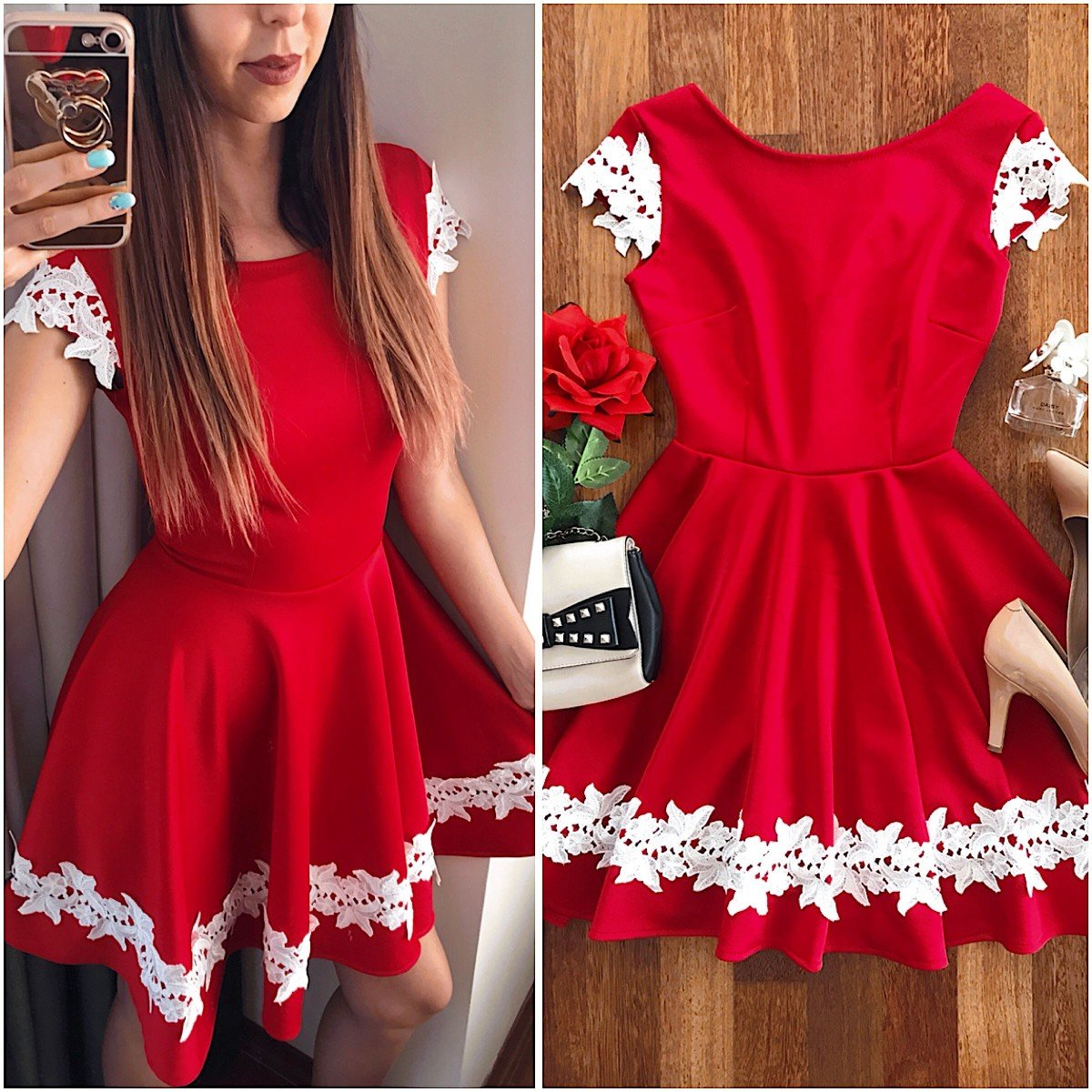 Rochie de ocazie rosie cu maneci si dantela cusuta