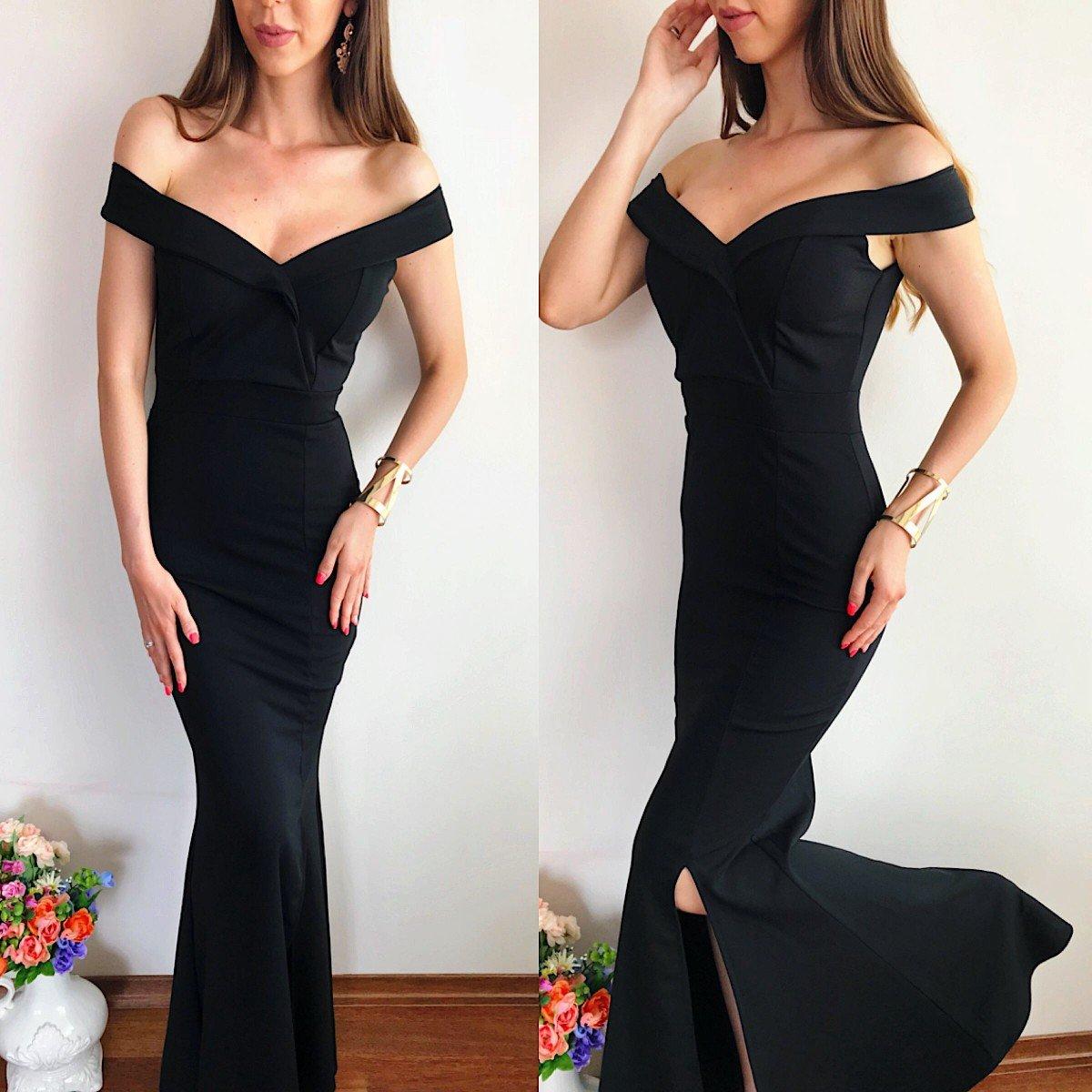 Rochie eleganta de ocazie neagra lunga cu umerii goi