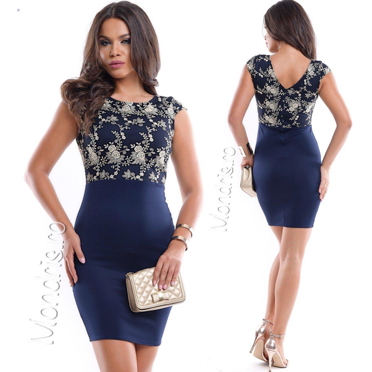 Rochie de ocazie scurta stramta bleumarin cu corset dantelat
