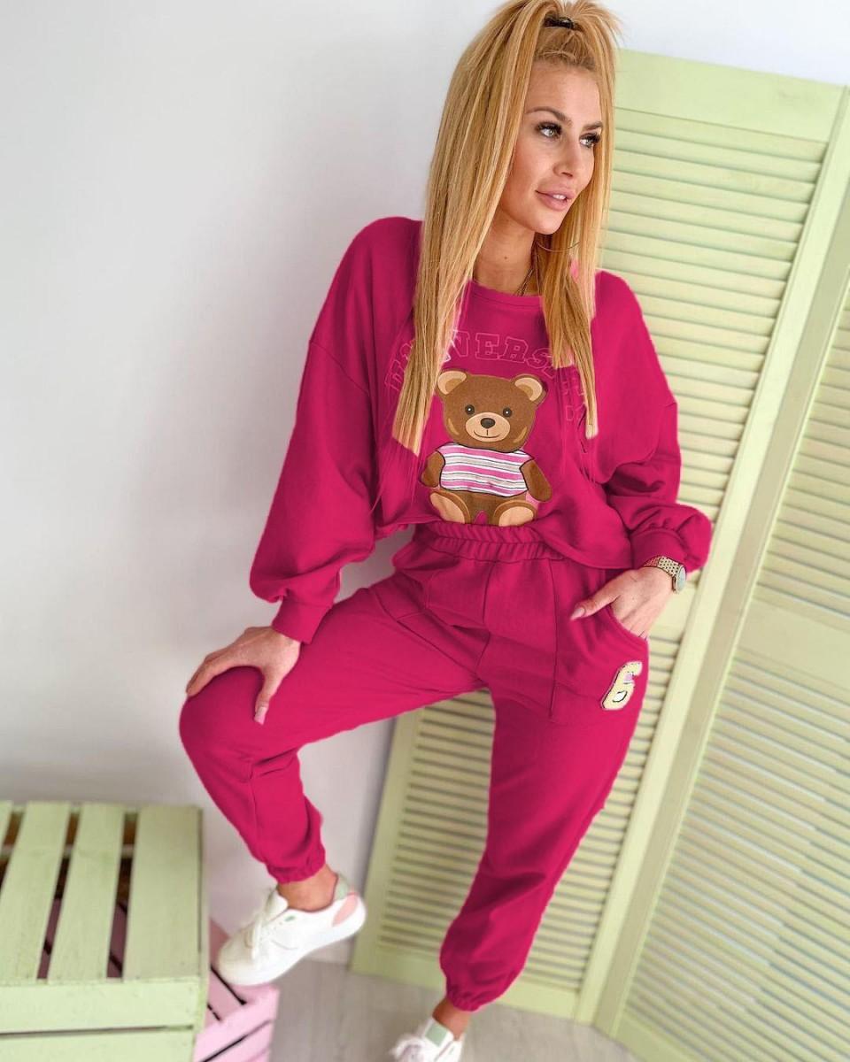 Trening dama casual roz colorat cu imprimeu Ursulet