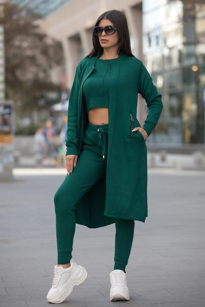 Compleu dama ieftin verde inchis compus din pantaloni lungi + maieu + cardigan lung